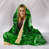 Calavera Fresh Look Design #2 Hooded Blanket (Green Lime Rose) - FREE SHIPPING