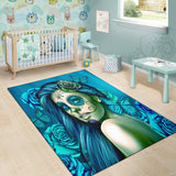 Calavera Fresh Look Design #2 Area Rug (Vertical, Turquoise Tiffany Rose) - FREE SHIPPING