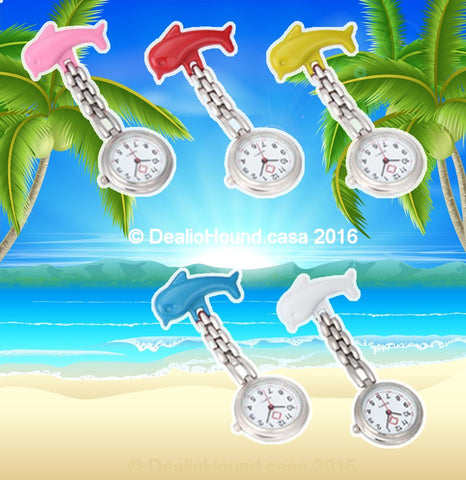 Too Cute Dolphin Clip-On Pendant Nurse Fob Quartz Watch – In 5 Fun Colors!