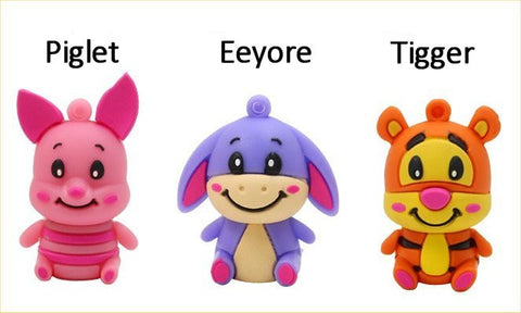 Winnie The Pooh's Friends (Eeyore, Piglet, Tigger) - USB Flash Drive In 5 Sizes - 4, 8, 16, 32, & 64 GB