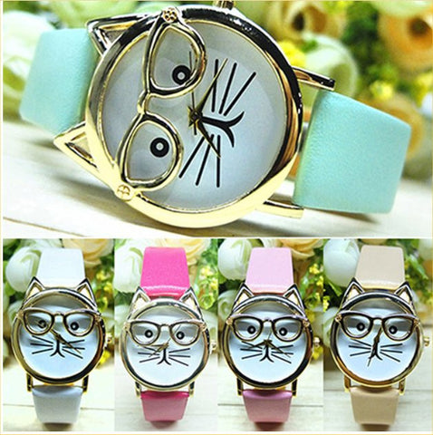 Women's Cute Cat Glasses Quartz Watch – In 8 Colors!