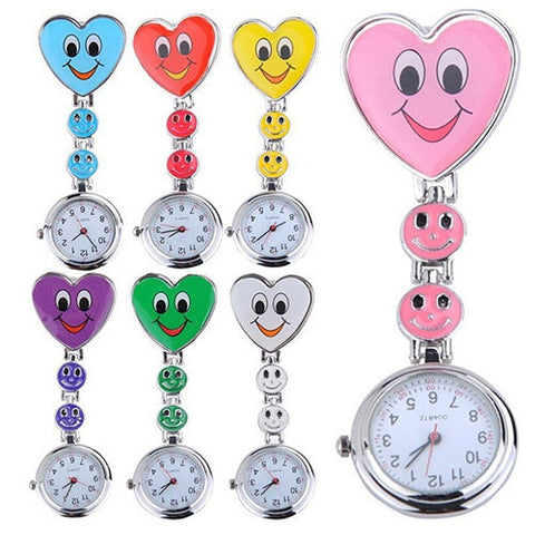 Cute Smiley Face Heart Clip-On Pendant Nurse Fob Quartz Watch – In 7 Colors!