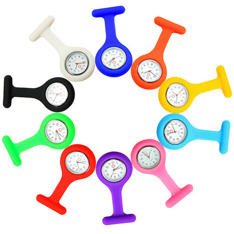 Daily Silicone Clip-On Pendant Nurse Fob Quartz Watch – In 10 Fun Colors!
