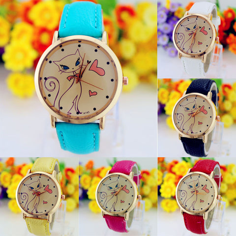 Women's Cute Cat Quartz Watch – In 6 Colors!