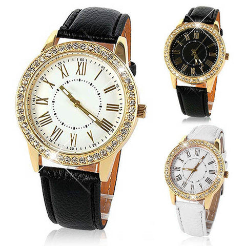 Sexy Women's Roman Numeral Quartz Business Watch – Black Or White!