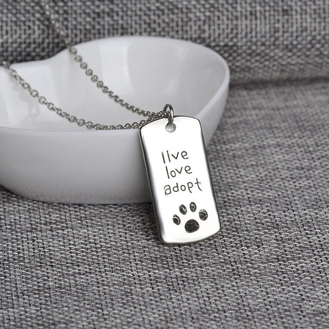 Live Love Adopt Pets Necklace – Show Support For Pet Rescuers!