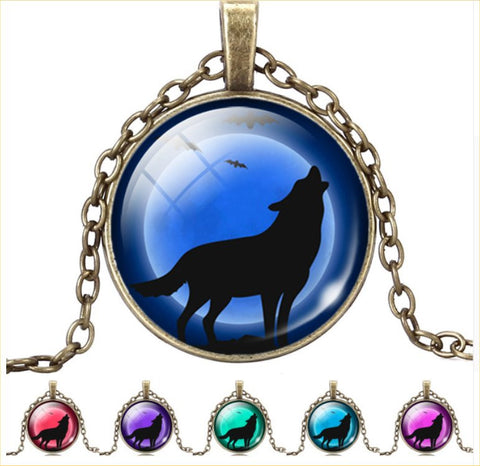 Vintage Glass Cabochon Wolf Statement Moonscape Necklaces For Men & Women – 12 Fun Colors