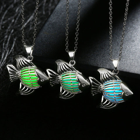 Vintage Glass Cabochon Halloween Fantasy Glow In The Dark Fish Pendants - 3 Lucky Colors