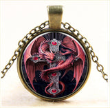 Red Dragon With Cross on Gold Chain
