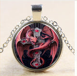 Red Dragon With Cross on Silver Chain