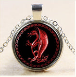Red Dragon on Silver Chain