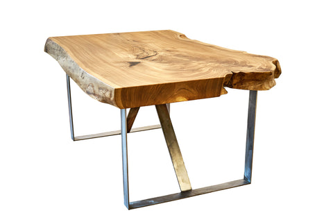 live edge table modern design wood glass