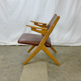 Brown Leather Armchair with Oak Frame and Teak Arms by Arne Hovmand-Olsen