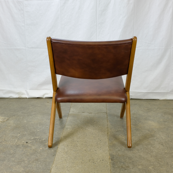 Backside of Brown Leather Armchair with Oak Frame and Teak Arms by Arne Hovmand-Olsen