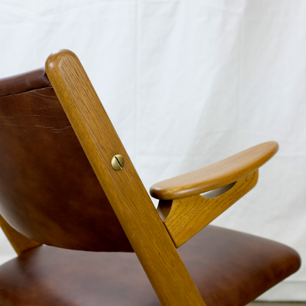 Brass Hardware in Brown Leather Armchair by Arne Hovmand-Olsen