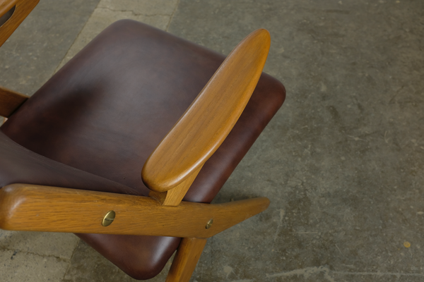 Top View of Brown Leather Armchair by Arne Hovmand-Olsen