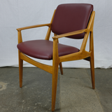 'Ellen' Armchair with Maroon Leatherette and Teak Frame by Arne Vodder