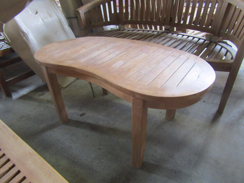 Solid Teak Outdoor Kidney Shaped Coffee Table