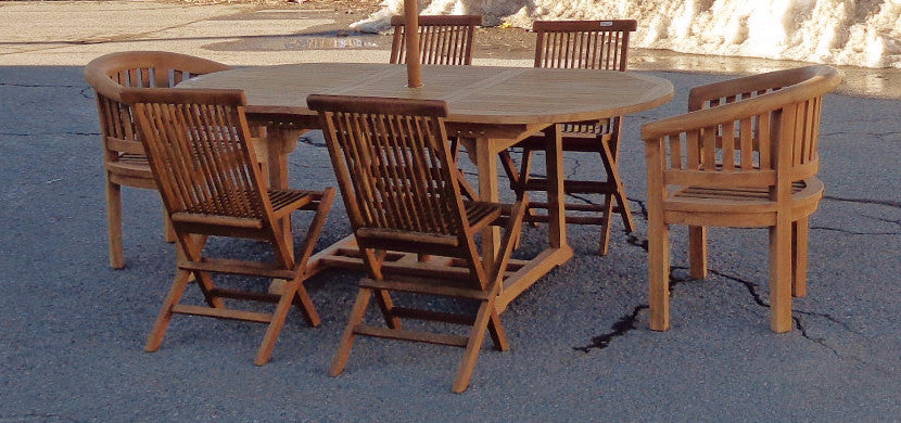 Solid Teak Outdoor Dining Table With Extension Mostly Danish - Solid teak outdoor table