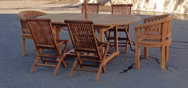 Solid Teak Outdoor Dining Table With Extension