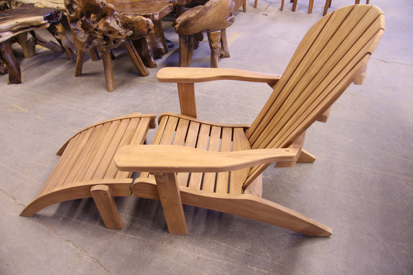 Solid Teak Adirondack Lounger with Foot Rest