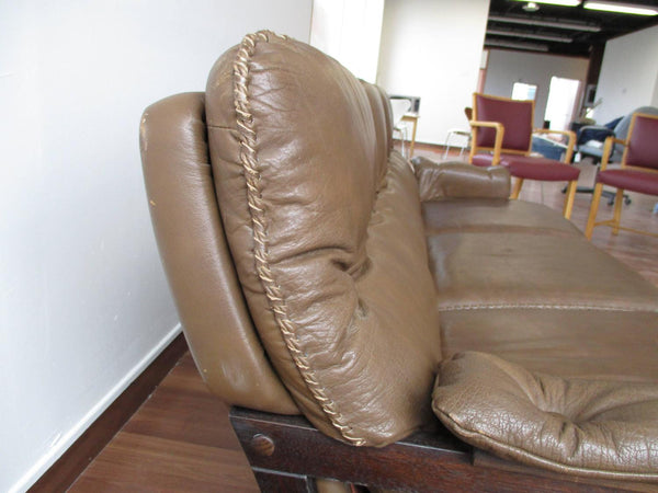 Side View of Stained Beech Frame Brown Leather Sofa by Arne Norell