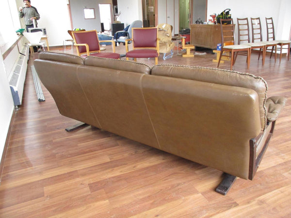 Backside of Stained Beech Frame Brown Leather Sofa by Arne Norell