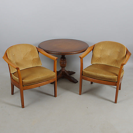 Mahogany Armchairs with plush fabric. Price per chair