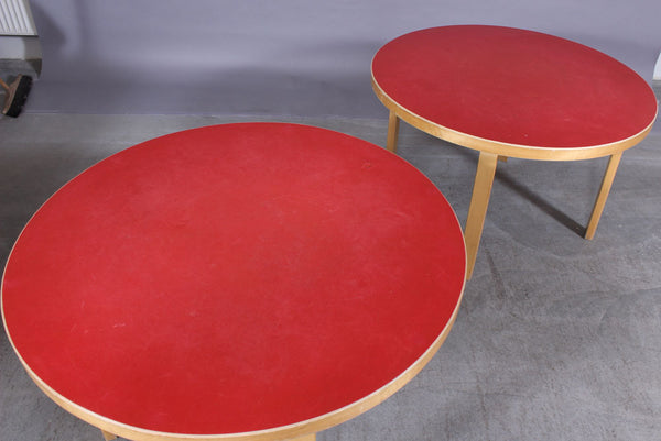 Two Red Surfaced Children's Tables by Alvar Aalto