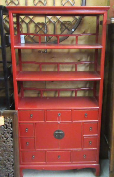 Oriental Red Bookcase