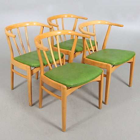Four Birch Cafe Chairs with Green Leather Seats