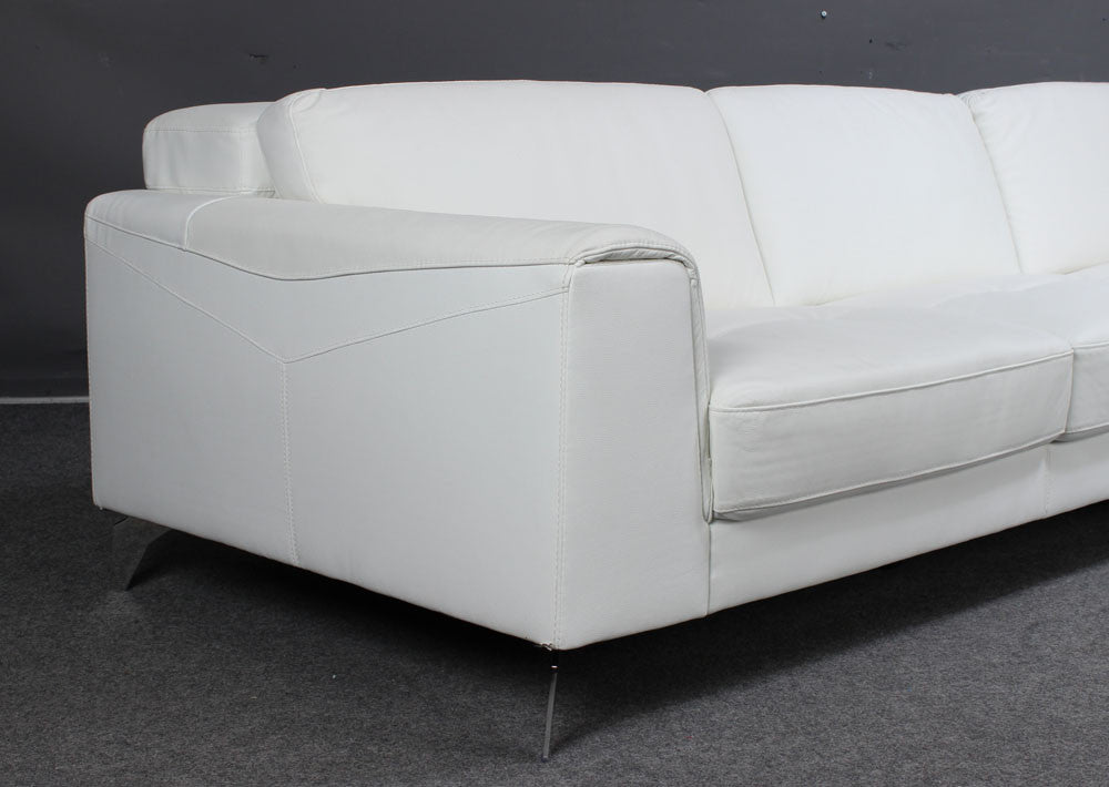 ... White Leather Sofa With Chaise Longue