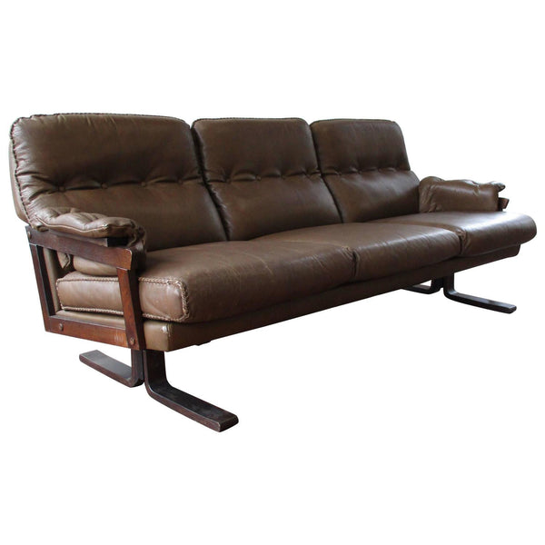 Stained Beech Frame Brow Leather Sofa by Arne Norell