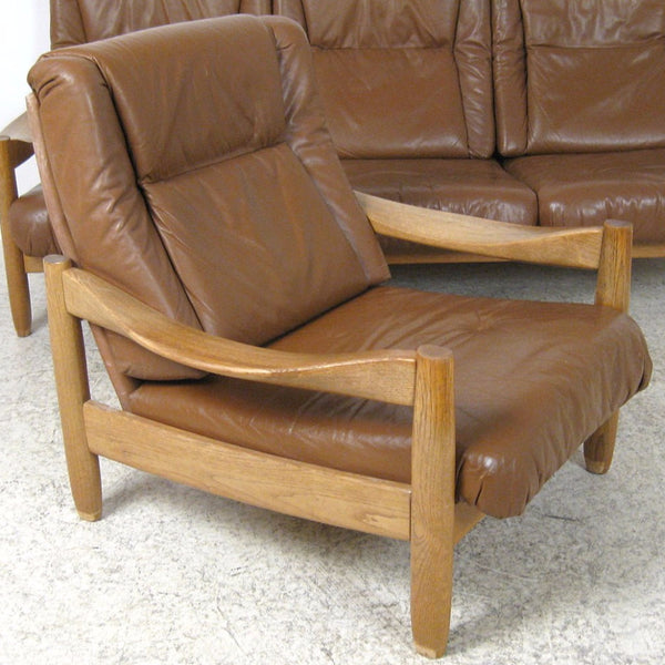 Oak and Leather  Armchair