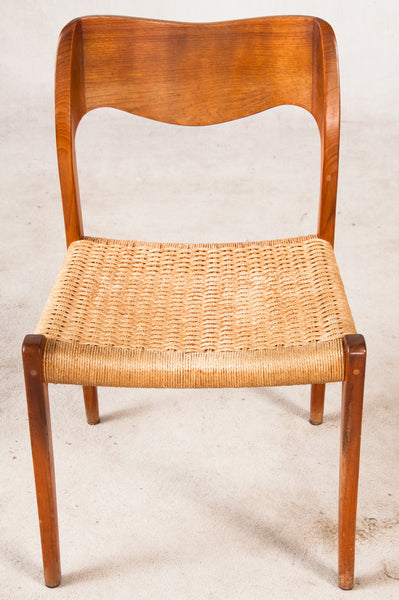 Niels O. Moller Dining Chairs, Model 71 in teak and papercord