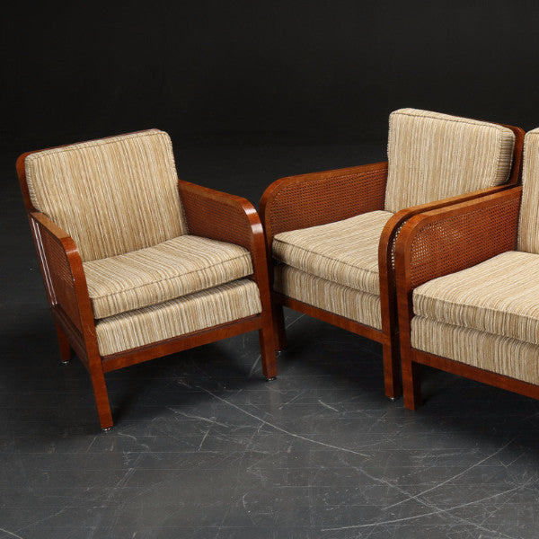Cane & Mahogany Chairs with Tan Striped Wool Upholstery