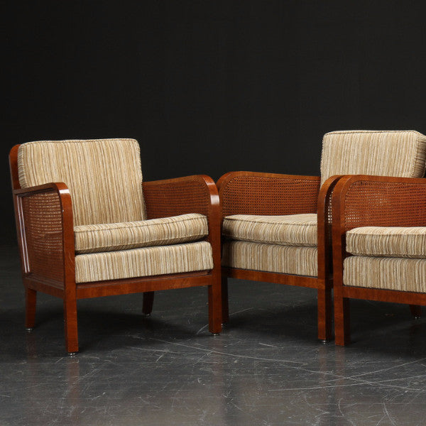 Cane & Mahogany Armchairs with Tan Striped Wool Upholstery