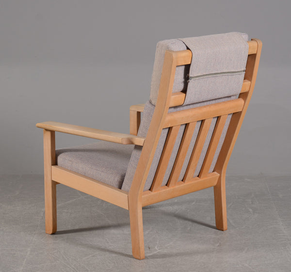 Backside of Beech Frame Armchair with Wool Upholstery by Bernt