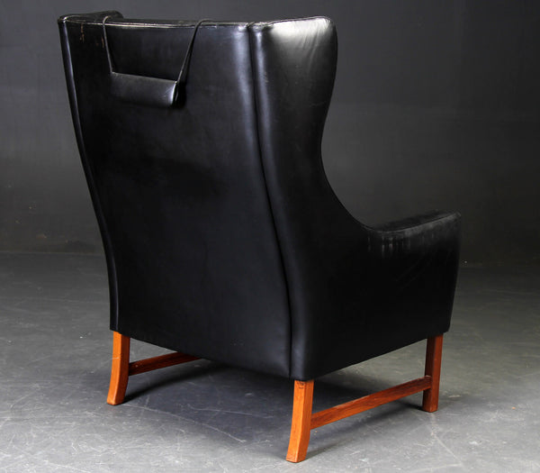 Teak / Leather Wing Chair