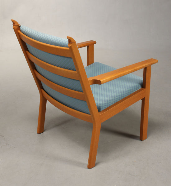 Backside of Oak Armchair with Baby Blue Wool Upholstery by Hans J. Wegner