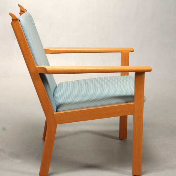 Side View of Oak Armchair with Baby Blue Wool Upholstery by Hans J. Wegner