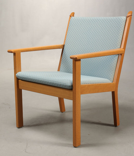 Front Side of Oak Armchair with Baby Blue Upholstery by Hans J. Wegner