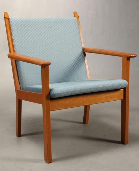 One Oak Armchair with Baby Blue Wool Upholstery by Hans J. Wegner