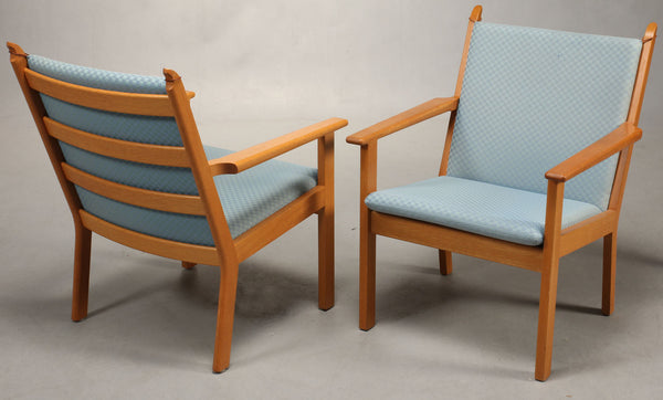 Two Oak Armchairs with Baby Blue Wool Upholstery by Hans J. Wegner
