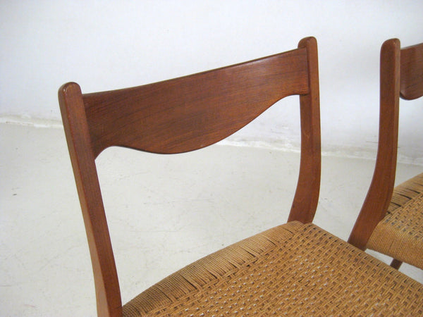Teak Dining Chairs with papercord seats