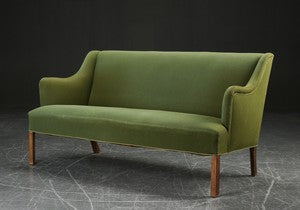 Model 4709 Green Wool Sofa with Beech Legs by Borge Mogensen
