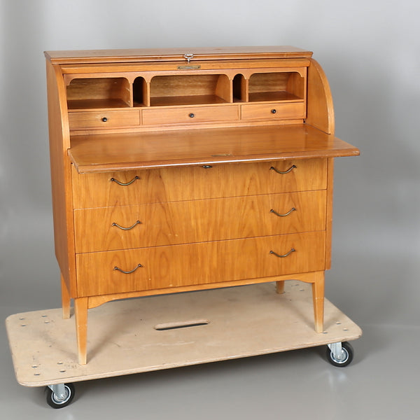 Teak Secretary with Rolltop and extendable wtiting surface