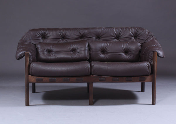 Coja Brown Leather Loveseat
