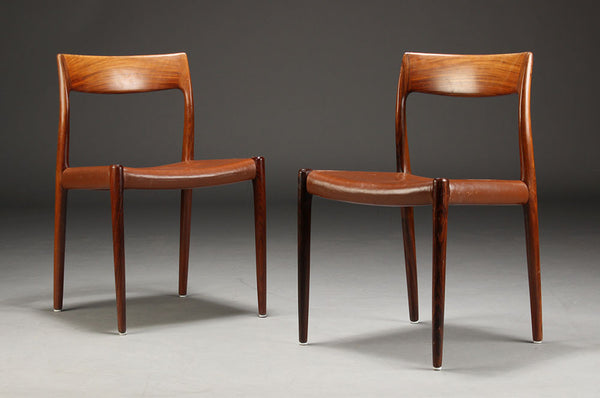 Niels O Moller Rosewood Chairs Model 77 Mostly Danish
