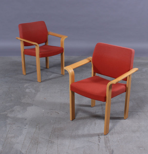 Two Beech Armchairs with Red Wool Upholstery by Rud Thygesen & Johnny Sorensen
